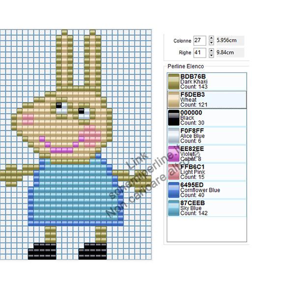 Rebecca Coniglio personaggio Peppa Pig schema pyssla Hama Beads 27x41