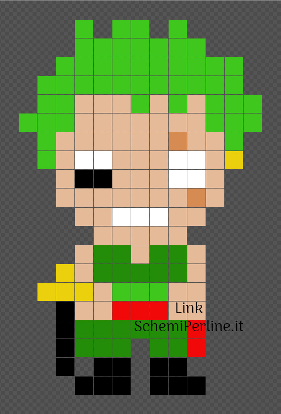 Roronoa Zoro personaggio One Piece schema perline da stirare 13x20