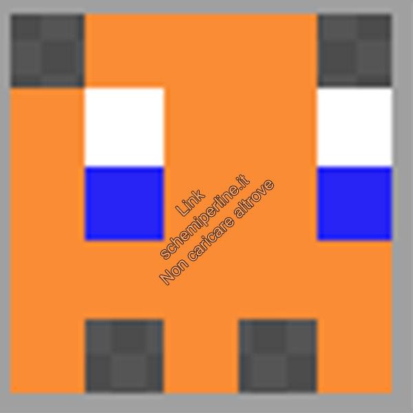Schema anello con le pyssla hama beads perline a fusione fantasmino Pacman arancione 5x5