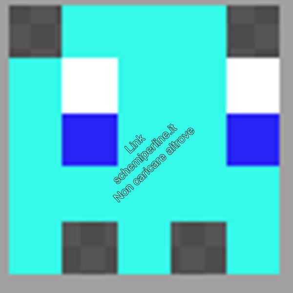 Schema anello con le pyssla hama beads perline a fusione fantasmino Pacman azzurro 5x5