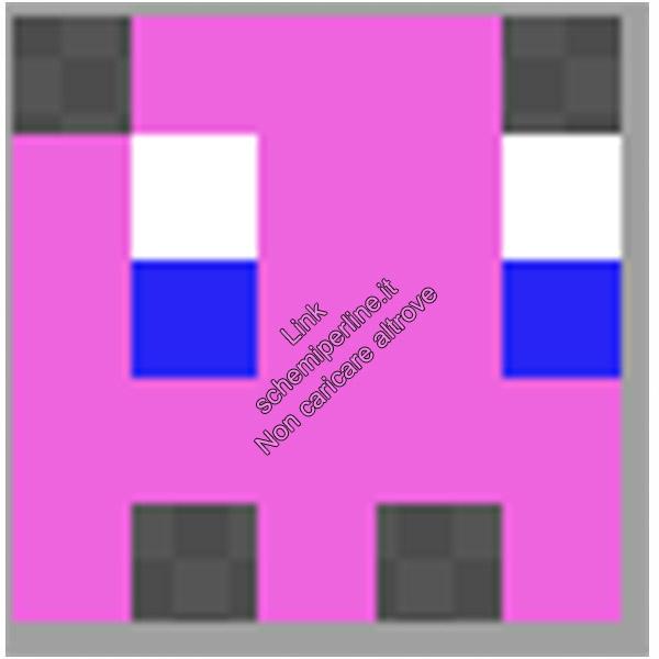 Schema anello con le pyssla hama beads perline a fusione fantasmino Pacman rosa 5x5