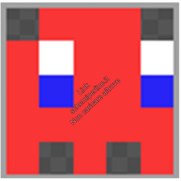 Schema anello con le pyssla hama beads perline a fusione fantasmino Pacman rosso 5x5