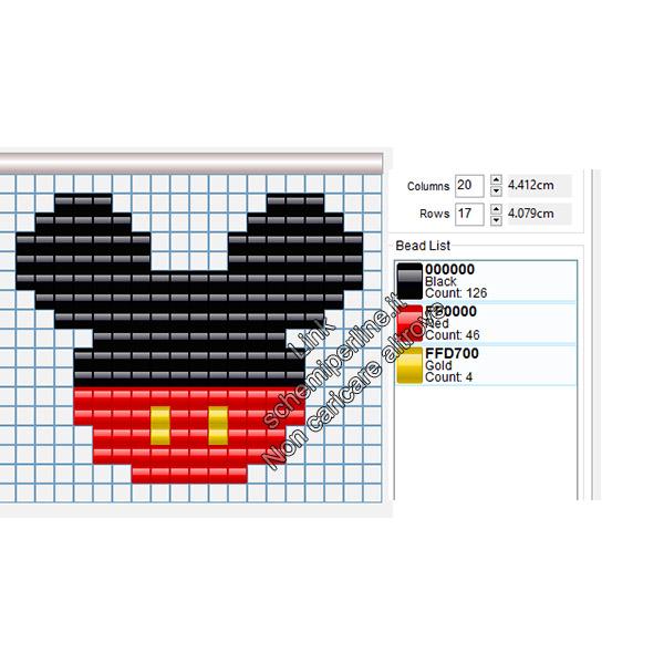 Schema con le pyssla idea portachiavi con logo Disney Topolino 18x15