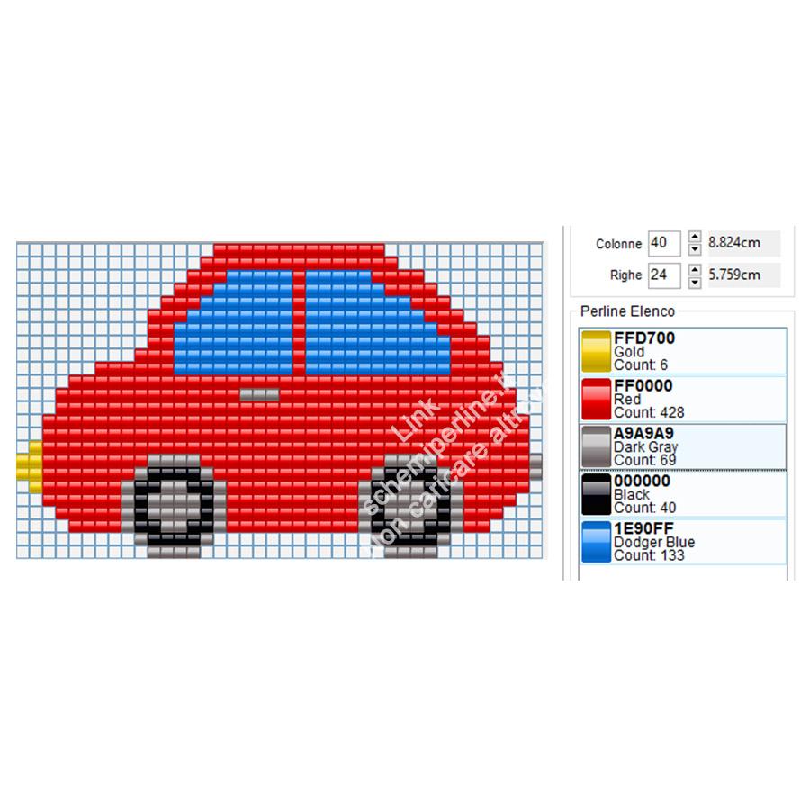 Schema gratis Pyssla macchinina colorata 40x24
