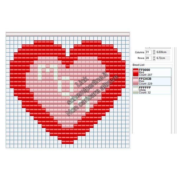 Schema gratis in pyssla Festa della Mamma cuore con testo 29x26