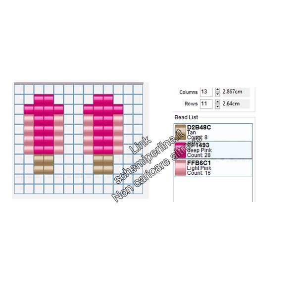Schema gratis perline da stirare pyssla orecchini ghiaccioli alla fragola 4x8