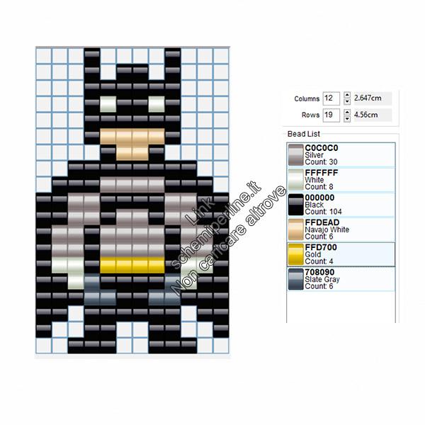 Schema gratis pyssla perline da stirare Batman 12x19