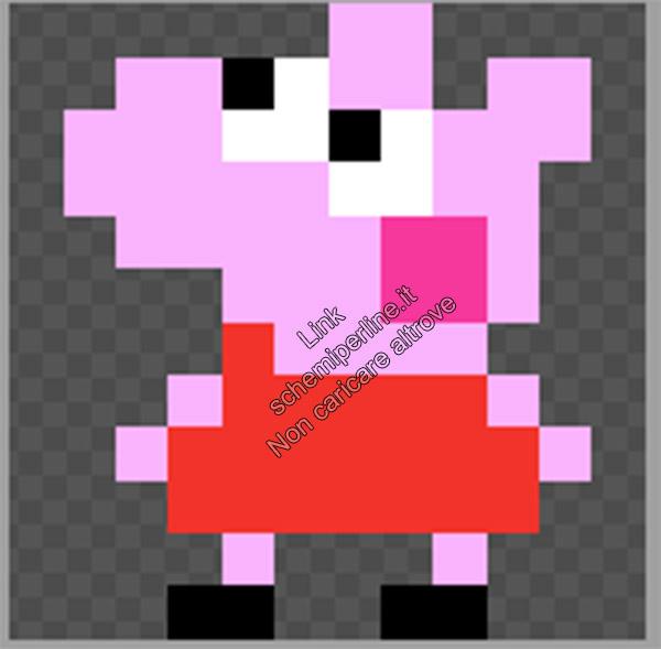 Schema pyssla hama beads Peppa Pig per cerchietto 10x12