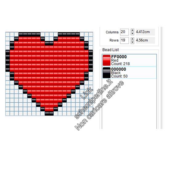 Schema pyssla hama beads semplice grande cuore rosso 20x19