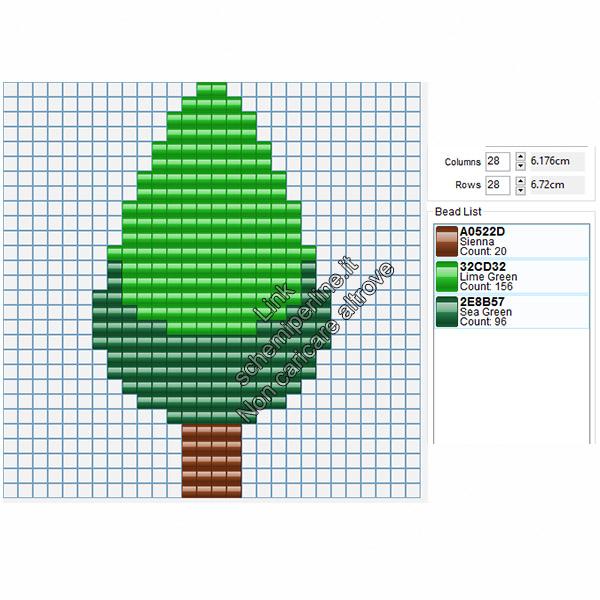 Schema semplice con le pyssla albero verde 16x28