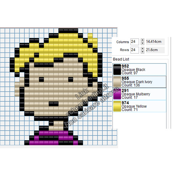 Schroeder personaggio Charlie Brown schema pyssla gratis 24x24