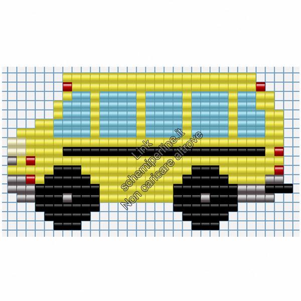 Scuolabus mezzi di trasporto schemi pyssla per bambini 31x17