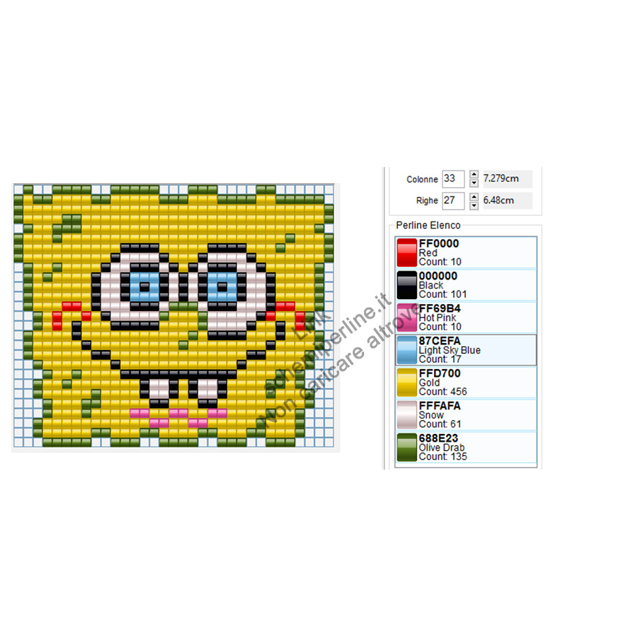 Spongebob schema Hama Beads Pyssla gratis 33x27