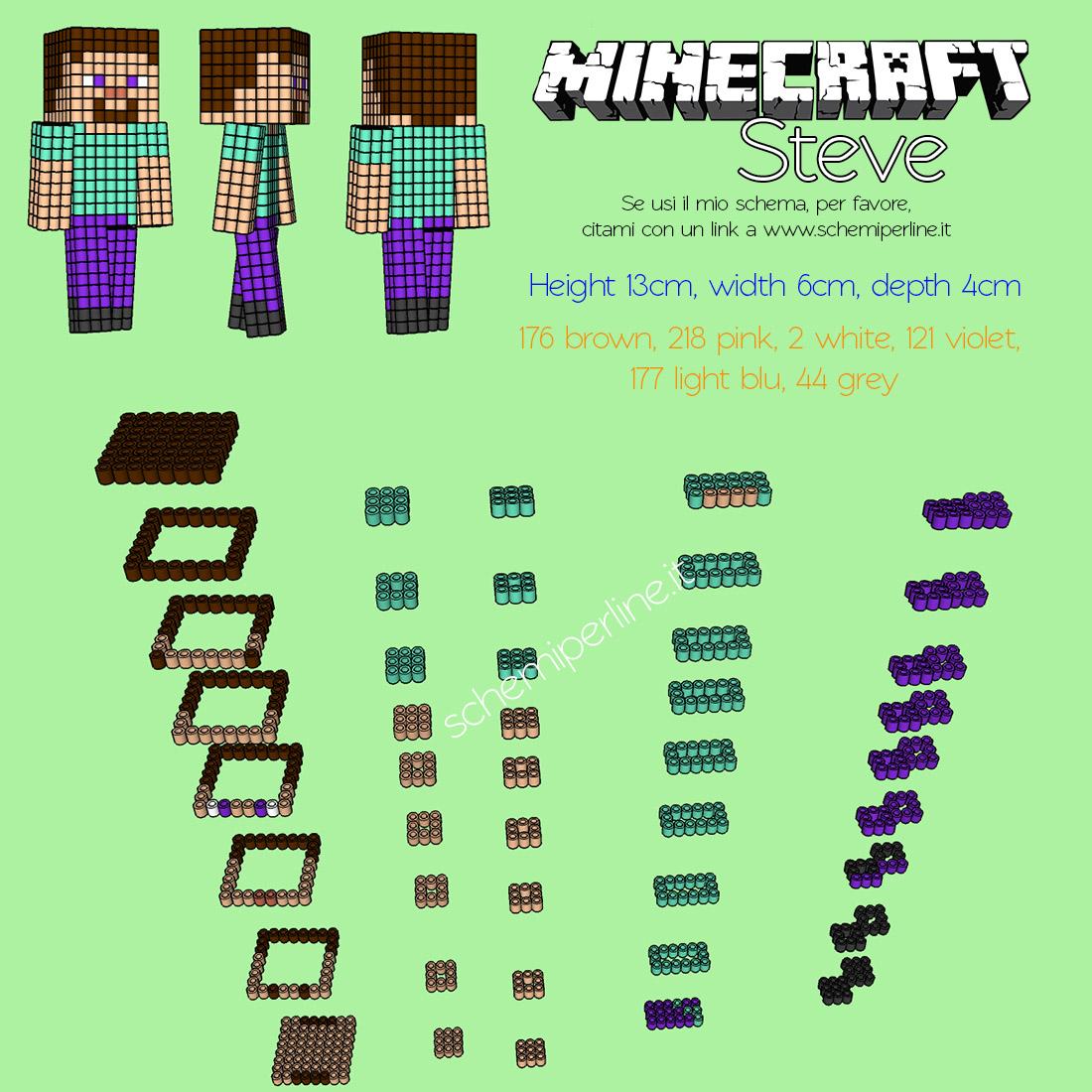 Steve Personaggio Minecraft In 3d Con Le Pyssla O Hama Beads
