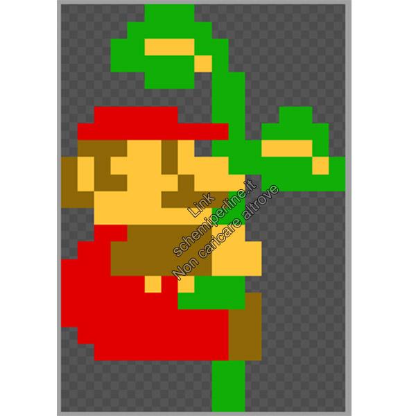 Super Mario Bros si arrampica sulla pianta schema pyssla hama beads gratis 17x25