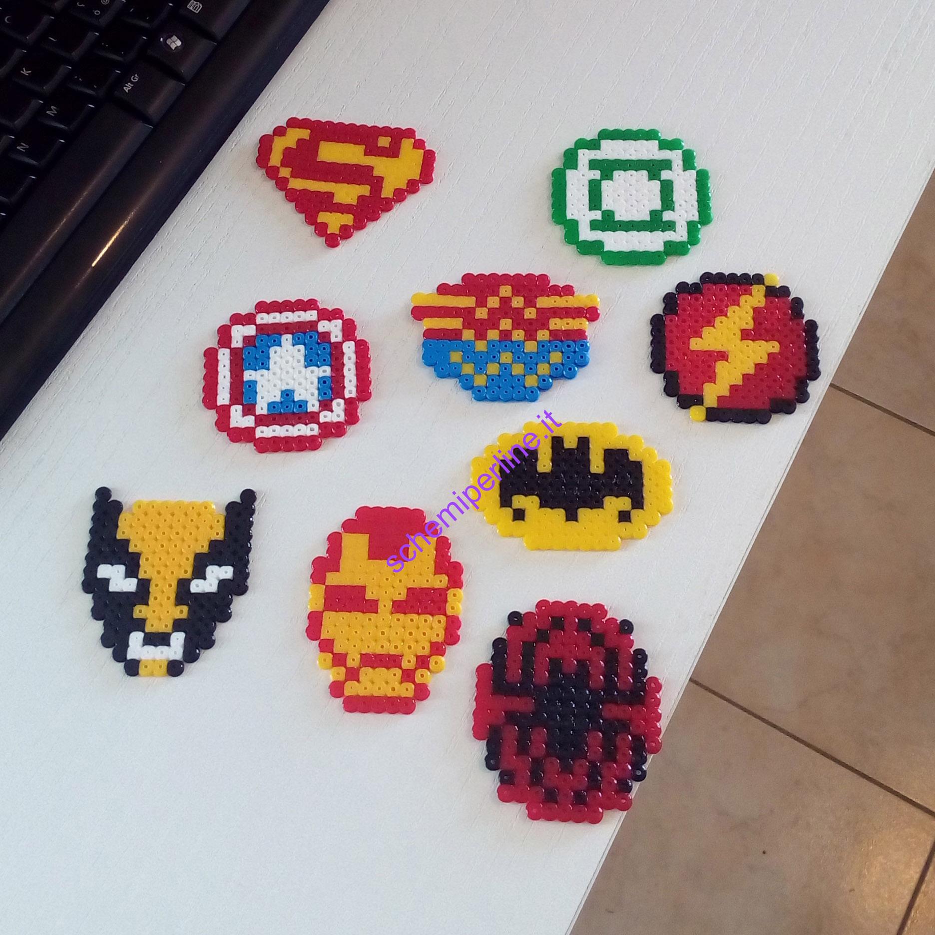 Supereroi con le Pyssla Hama Beads