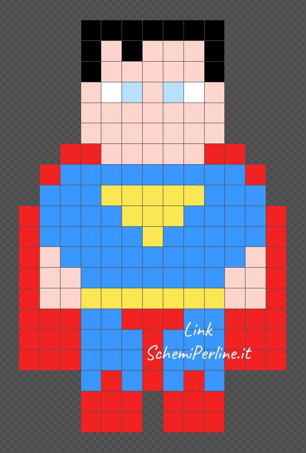 Superman disegni bellissimi facili con le pyssla 13x21