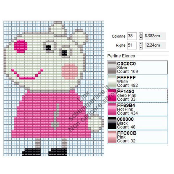 Susy Pecora personaggio Peppa Pig schema pyssla 38x51 2