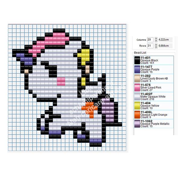Tenero unicorno schema perline Pyssla Tiger Amazon gratis 29x31