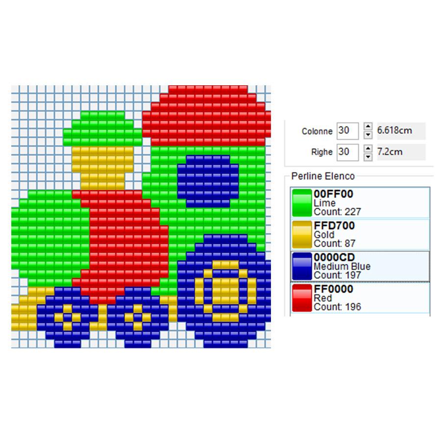 Trenino colorato per bambini da fare con i Pyssla 30x30