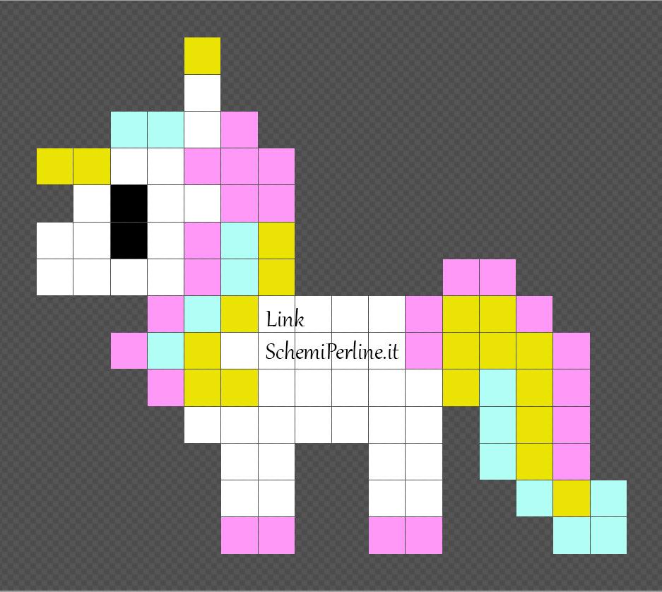 Unicorno schemi disegni Pyssla perline da stirare 16x14