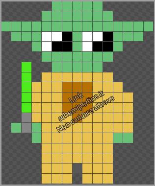 Yoda personaggio Star Wars schema perline da stirare pyssla gratis 15x18