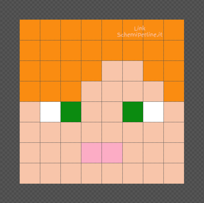 Alex di Minecraft schema Pyssla facile 8x8