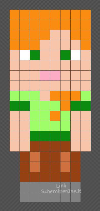 Alex di Minecraft schema facile con le Hama Beads 8x19