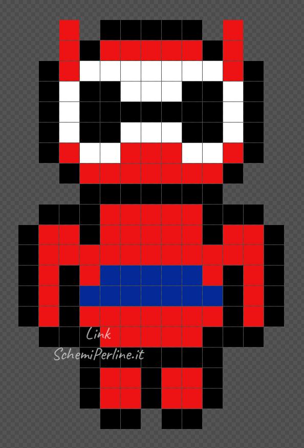 Baymax rosso di Big Hero 6 Pyssla 13x20