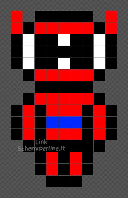 Baymax rosso schema perline da stirare Pyssla facile 9x15