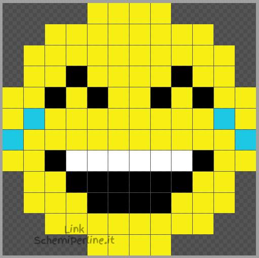 Emoticon piango dal ridere schema Pyssla facile e veloce 12x12