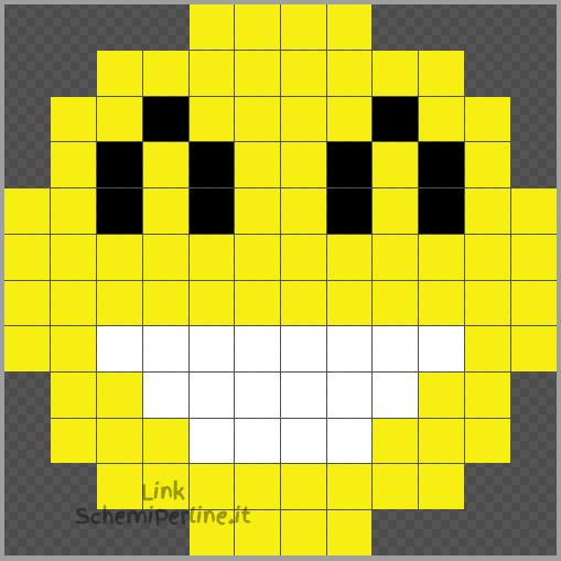 Emoticon sorriso schema Pyssla facile 12x12