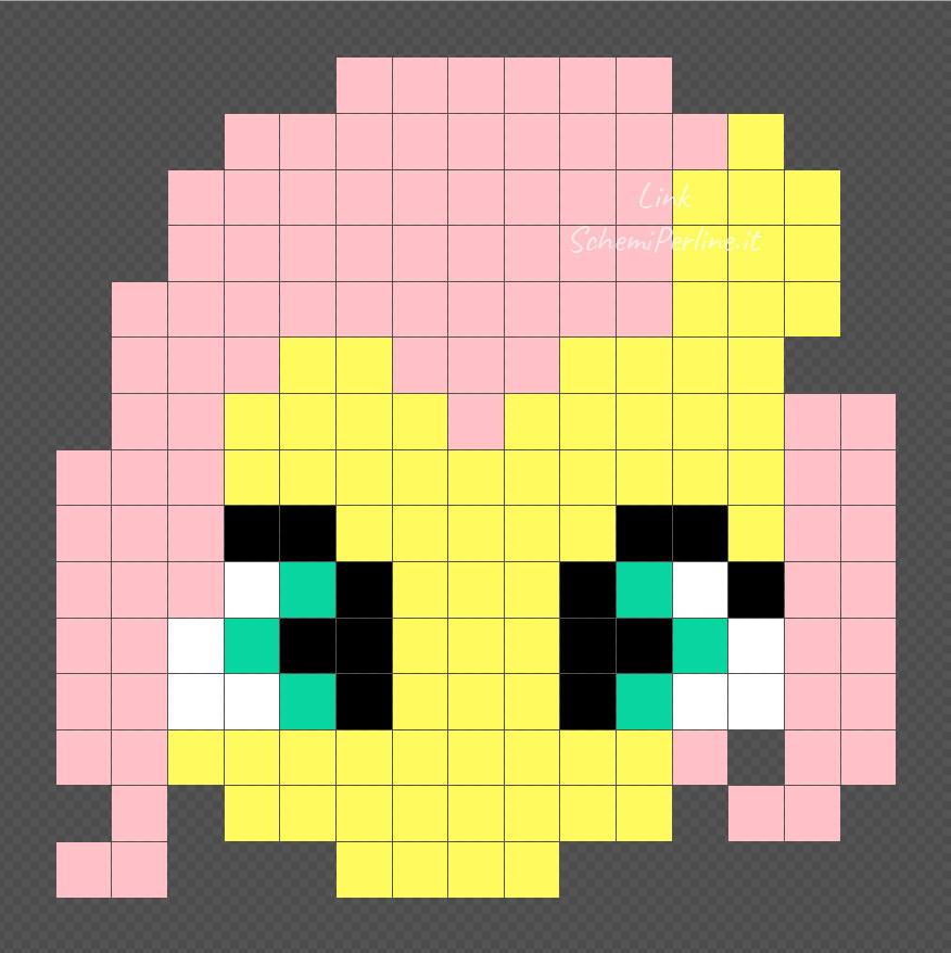 Fluttershy delle My Little Pony disegno perline Pyssla 15x15