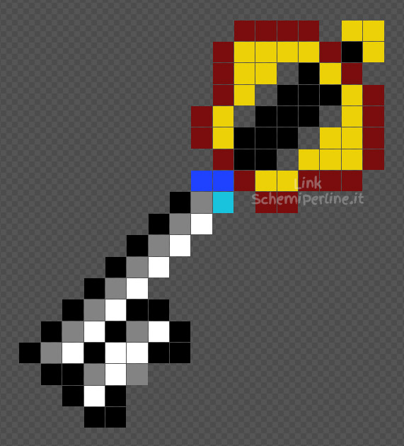 Il Keyblade di Kingdom Hearts schema perline da stiro Hama Beads Pyssla 17x19