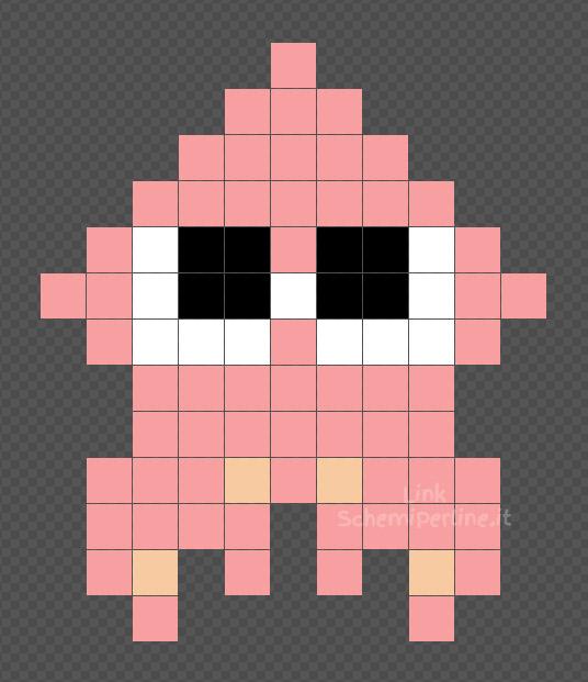 Il calamaro rosa di Splatoon schema Pyssla e Hama Beads 11x13