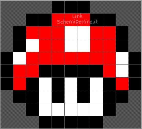 Il funghetto rosso di Super Mario Bros schema Pyssla Hama Beads gratis 11x10