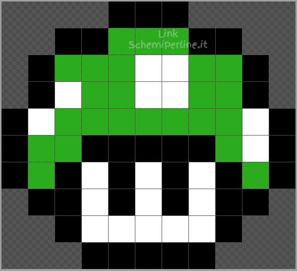 Il funghetto verde di Super Mario Bros disegno Pyssla Hama Beads 11x10
