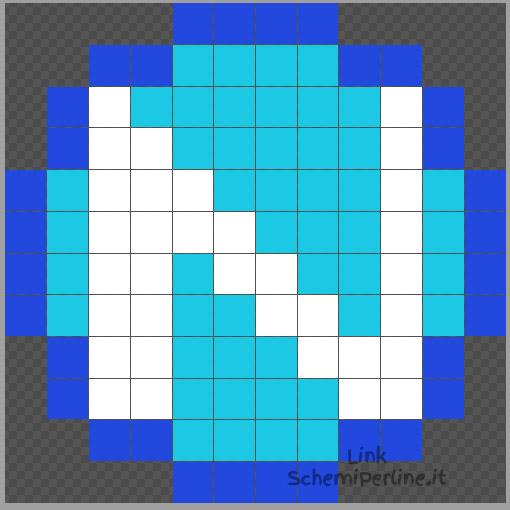 Il logo del Napoli schema semplice Hama Beads e Pyssla 12x12