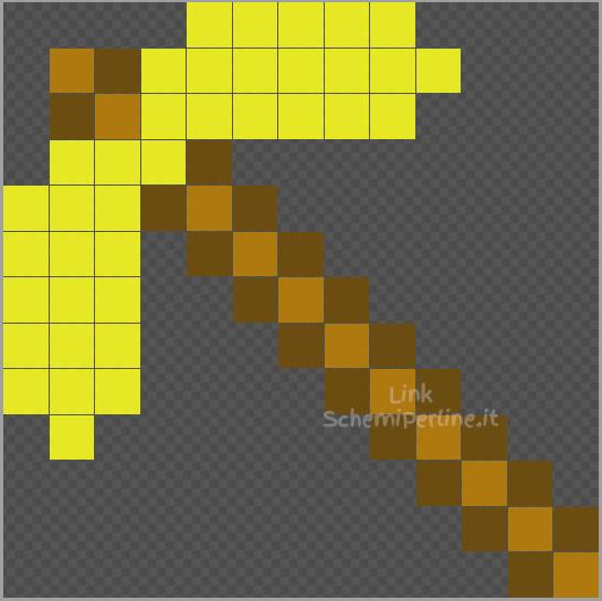 Il piccone d'oro di Minecraft disegno Pyssla Hama Beads coding per bambini 13x13