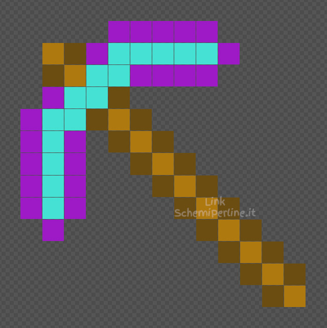 Il piccone incantato di Minecraft schema Pyssla coding 13x13
