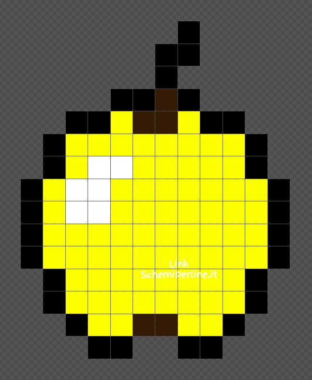 La Mela d'Oro di Minecraft schema perline da stirare Pyssla 12x15