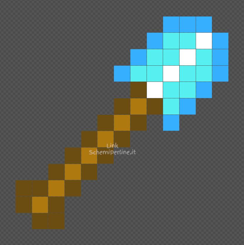 La pala di diamante di Minecraft disegno Pyssla 14x14