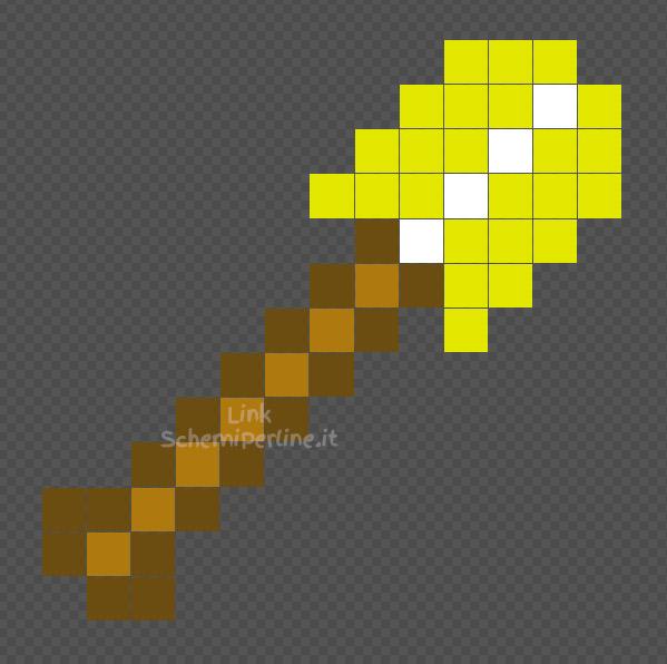 La pala d'oro di Minecraft schema Pyssla coding per bambini 14x14