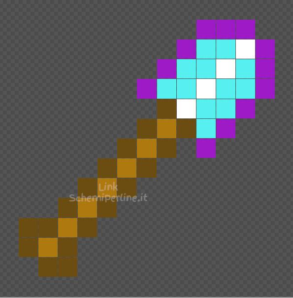 La pala inciantata di Minecraft schema con le perline Ikea Pyssla 14x14