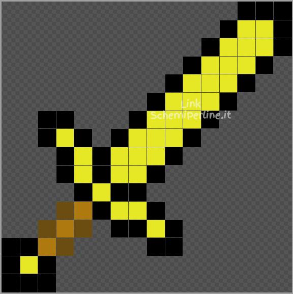 La spada d'oro di Minecraft schema perline da stiro Pyssla 16x16