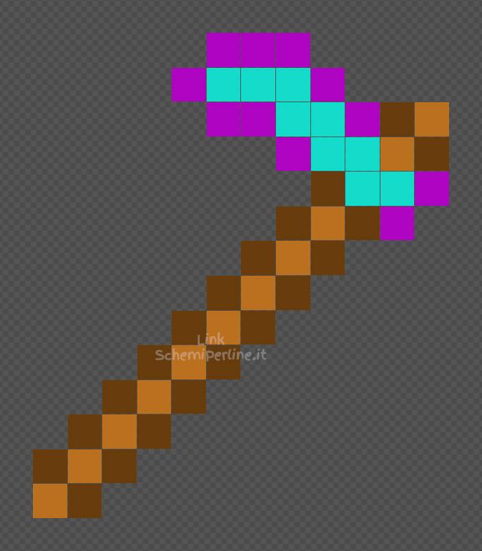 La zappa inciantata di Minecraft schema facile perline a fusione Hama Beads 12x14