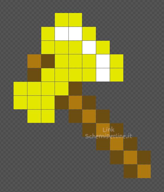 L'ascia d'oro di Minecraft schema Pyssla Hama Beads 10x12