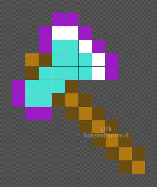 L'ascia incantata di Minecraft schema facile Pyssla 10x12