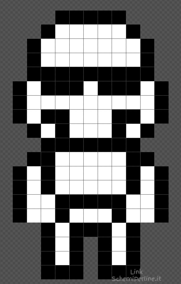 Lo Stormtrooper di Star Wars schema facile con le Pyssla 11x19