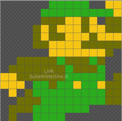 Luigi di Super Mario Bros schema Pyssla 15x15